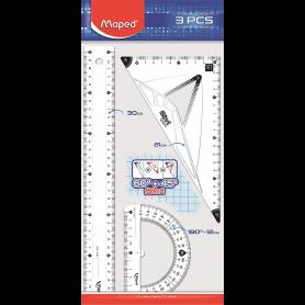 Maped Kit traçage 3 pièces : Règle plate 30 cm, Equerre 2 en 1, Rapporteur 180°
