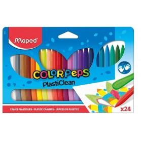 Maped Crayons de cire COLOR'PEPS PlastiClean, étui de 24