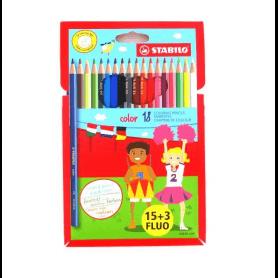 Crayons de couleur stabilo color pochette de 18 dont 3 fluo