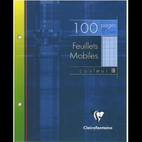 Clairefontaine 1341C - Un étui carton 100 pages Feuillets mobiles perforés 17x22 cm 90g grands carreaux, Bleu