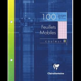 Un étui carton 100 pages Feuillets mobiles perforés 17x22 cm 90g grands carreaux, Rose