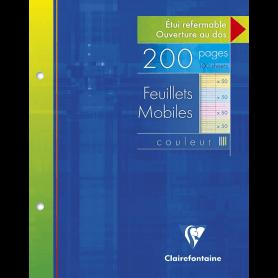 Clairefontaine, 1 Etui de 200 Feuilles mobiles 4 couleurs, perforées à grand carreaux, format : 17x22cm