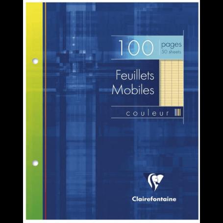 Clairefontaine 1347C - Un étui carton 100 pages Feuillets mobiles perforés 17x22 cm 90g grands carreaux, Jaune