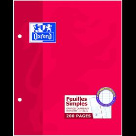 Oxford Pack de 100 Feuilles Simples Perforées Grands Carreaux 90 g 17x22 cm Blanc