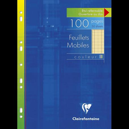 CLAIREFONTAINE FEUILLETS MOBILES PERFORÉES 21x29,7 A4 GRANDS CARREAUX SEYES 90G