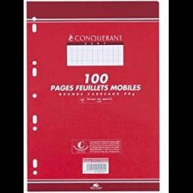 CONQUERANT SEPT Feuillets mobiles 210 x 297 mm, quadrillé