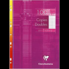 Clairefontaine Copies doubles perforées, A4, quadrillé 5/5