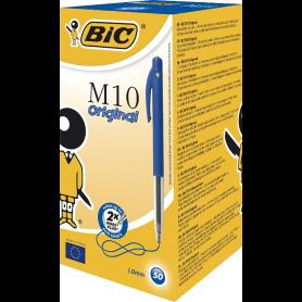 BIC M10 Original Stylos-Bille Rétractables Pointe Moyenne bleu boite de 50