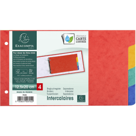 EXACOMPTA Intercalaires pour fiches bristol en carte lustrée 225g/m2 4 positions 125x200mm