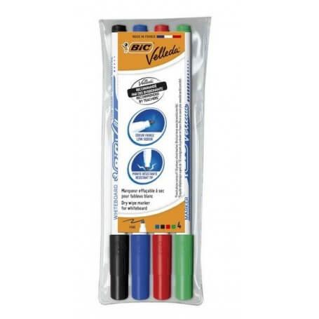 Bic Pochette de 4 feutres Velleda effaçables pointe fine (noir, rouge, bleu, vert)