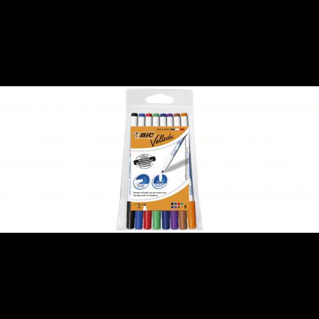 BIC VELLEDA Feutre effaçable à sec pointe fine couleurs assorties x8