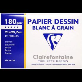 Clairefontaine Papier dessin 'Blanc à Grain', 210 x 297 mm