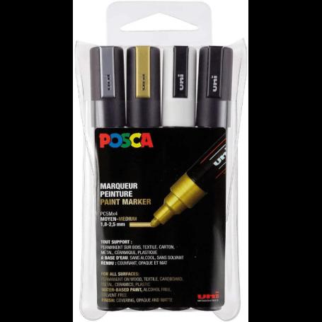 POSCA Marqueur à pigment PC-5M, étui de 4