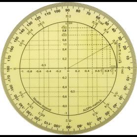 Rapporteur trigonométrie en plastique incassable - 360 ° - 11 cm