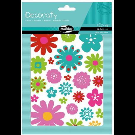 sachet de gommettes Decoraty 6 planches 14,8x21cm, Fleurs (180 stickers)
