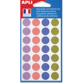 Apli Gommettes auto-adhésives 15mm 168 étiquettes Assortiment pastel
