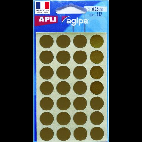 Apli Pochette de 112 gommettes - Ronds dorés - 15 mm diamètre