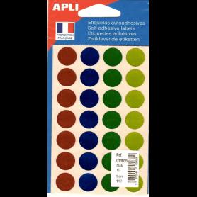 Apli Gommettes auto-adhésives 15mm 168 étiquettes Assortiment métallisé