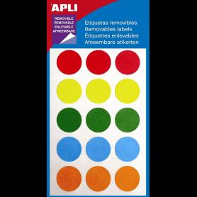 Apli étiquettes repositionnables cercle 19 mm