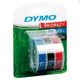 DYMO ruban pour étiqueteuse, 9mmx3m brillant, rouge, bleu et noir