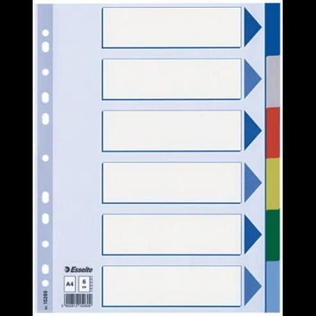 Esselte Intercalaires en plastique, uni, A4, PP, 6 touches