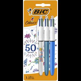 3 stylos à bille 4 couleurs Bic Anniversaire pointe moyenne 1 mm