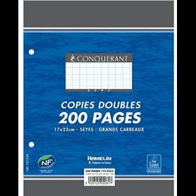 CONQUERANT SEPT Copies doubles 170 x 220 mm,Seyès, 200 pages