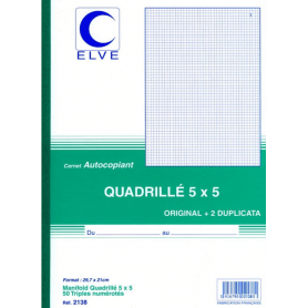 ELVE Manifold quadrillé (5/5), 210 x 297 mm, tripli