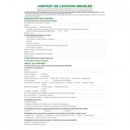 Exacompta Feuilles Contrat de location pour locaux meublés