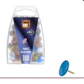 JPC boite de 100 punaises laiton coloris assortis