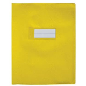 Protège-cahier 17x22 grand rabat jaune