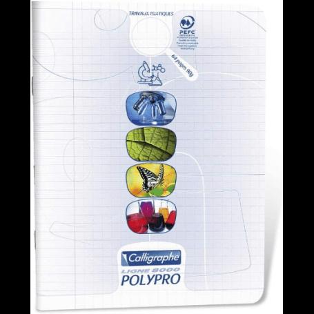 cahier de travaux pratique 17x22 cm 64 pages grands carreaux et unis, couverture polypro incolore