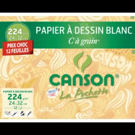 """Canson Pochette Papier Dessin Blanc """"C"""" à grain 224g 24x32"""