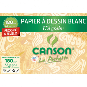 Pochette CANSON 12 feuilles de papier à dessin blanc A4 180g