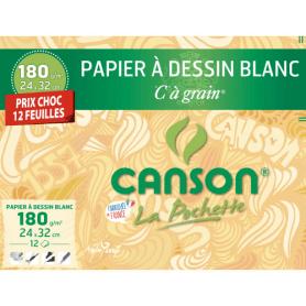 Pochette CANSON Dessin Blanc C à Grain 180G 24x32cm