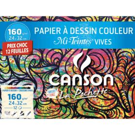 Pochette CANSON feuilles dessins couleurs Vives 160G 24x32cm