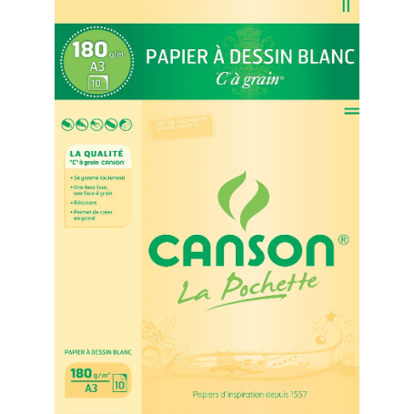 Pochette CANSON 10 feuilles Papier à dessin blanc A3 180G