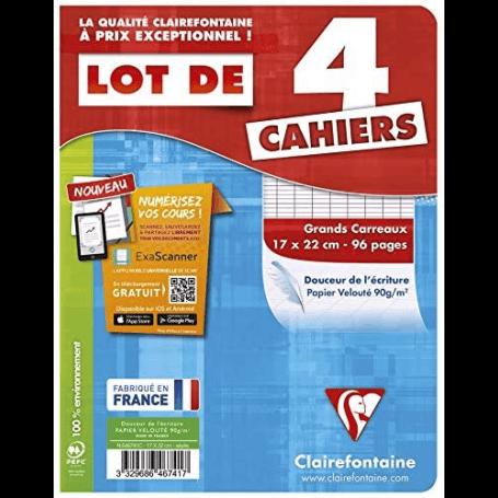 4 Cahiers 17x22cm 96 pages grands carreaux (séyès)