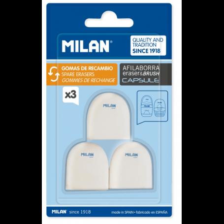 Milan Blister 3 gommes de rechange pour taille-crayon capsule