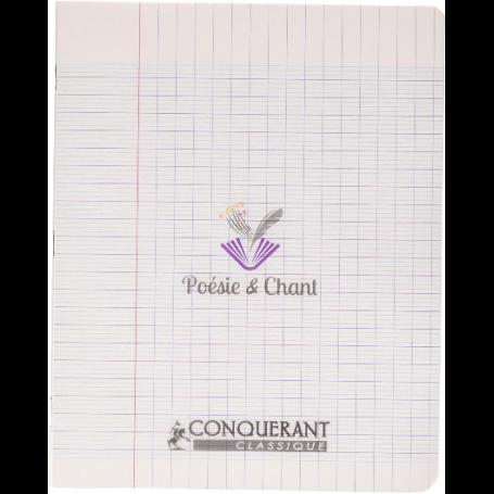 Cahier de poésie et chant 17x22 24p seyès + 24p unies Conquérant
