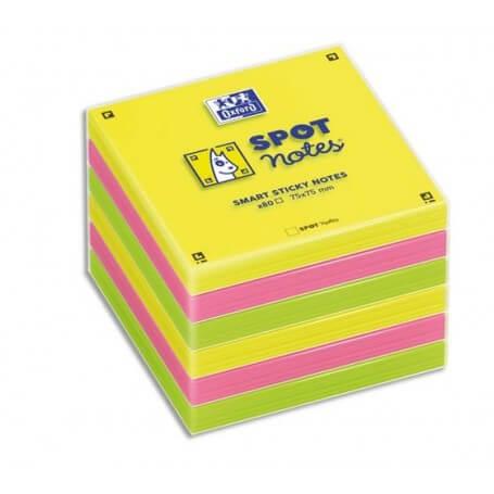OXFORD Lot 6 blocs notes repositionnables 7,5X7,5cm SCRIBZEE. Coloris assortis jaune, vert, rose