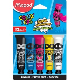 Maped gouache Color'Peps, 12 ml, 5 tubes sur blister