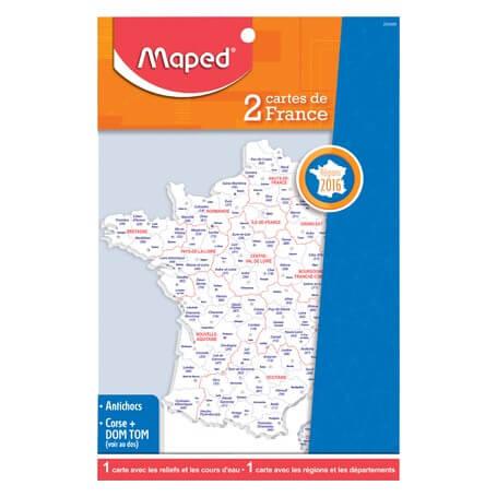 Maped-2 cartes de France - Administrative et reliefs
