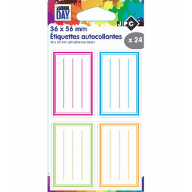 Etiquettes adhésives ecolier 36 x 56 mm ass 4 couleurs etui de 24