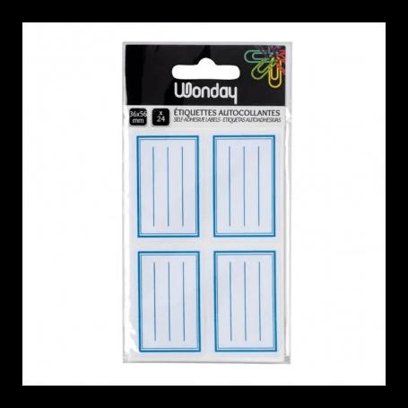 Etiquettes adhésives ecolier 36 x 56 mm cadre bleu etui de 24
