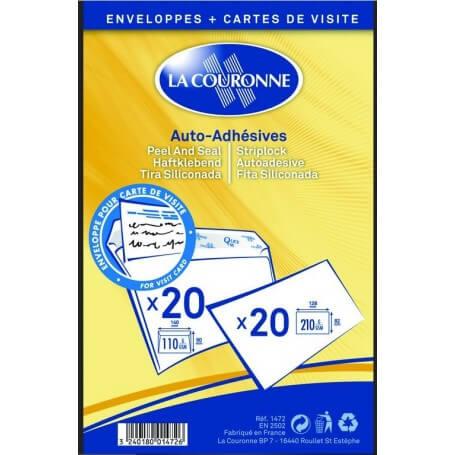 20 cartes de visite avec enveloppes 90 x 140 mm blanc auto adhésives