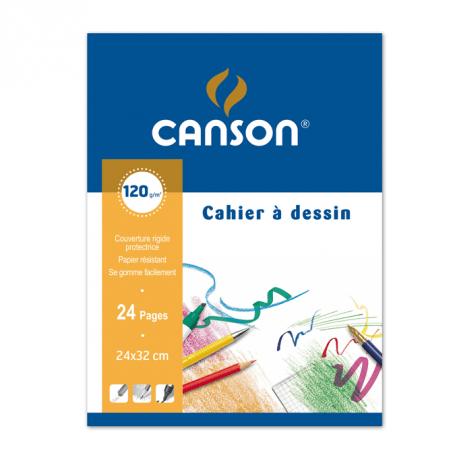 CANSON Cahier à dessin, uni, 120 g/m2, 240 x 320 mm 24 pages